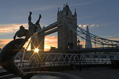 Sunset Tower bridge London. Sunset behind tower bridge and the shard in a winter day stock photography