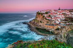 Sunset in the town Azenhas do Mar. Royalty Free Stock Image