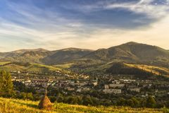 Sunset in a town between mountains Royalty Free Stock Photography