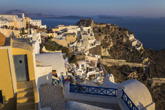 Sunset at the town of Oia in Santorini, Greece Stock Photos