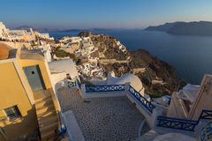 Sunset at the town of Oia in Santorini, Greece Stock Photography