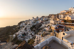 Sunset in Town of Oia, Santorini, Tira Island, Cyclades Stock Photography