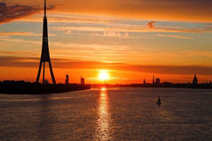 Sunset on the town river, Riga Royalty Free Stock Photography