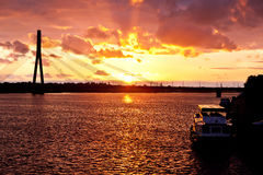 Sunset on the town river in Riga Stock Photos