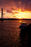Sunset on the town river in Riga Royalty Free Stock Image