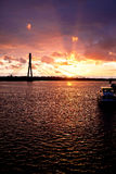 Sunset on the town river  in Riga Stock Photo