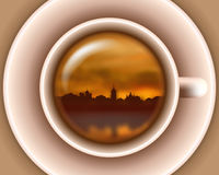 Sunset town silhouette on river in cup. Sunset town silhouette on river in a tea cup Stock Photography