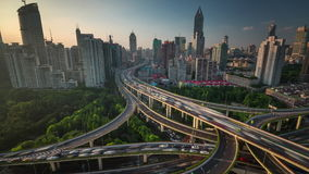 Sunset traffic road junction shanghai roof top panorama 4k time lapse china stock video footage