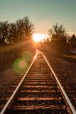 Sunset on Train Track in Philomath Oregon royalty free stock image