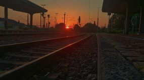 Sunset at Trainstation stock photo