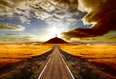 Sunset and travel concept Royalty Free Stock Image