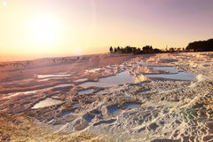 Sunset travertine pools and terraces Stock Photography