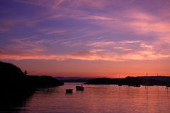 Sunset at Trearddur Bay. Trearddur bay a holiday haven on the Isle of Anglesey Royalty Free Stock Photography