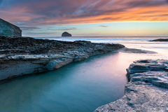 Sunset at Trebarwith Beach Stock Photo
