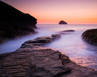 Sunset at Trebarwith Strand Cornwall Stock Photography