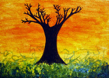 Sunset Tree Painting Stock Photos
