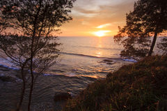 Sunset between trees at the Tip of Borneo Royalty Free Stock Photo