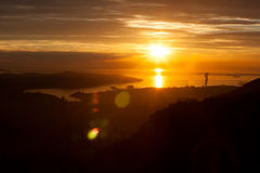 Sunset in trieste, italy. Aerial view of sunset over trieste, italy Royalty Free Stock Image