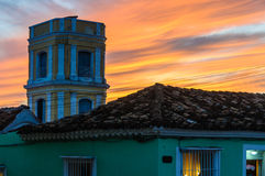Sunset in Trinidad, Cuba. Sunset in the UNESCO World Heritage old town of Trinidad, Cuba Stock Photo