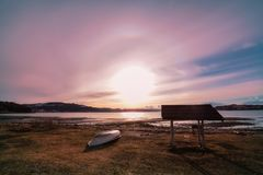 Sunset at trondheim fjord Royalty Free Stock Photo