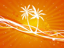 Sunset tropical background. Orange summer illustration with palms Stock Images