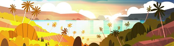 Sunset On Tropical Beach Beautiful Landscape Summer Seaside With Palm Trees Horizontal Banner. Flat Vector Illustration Stock Photos