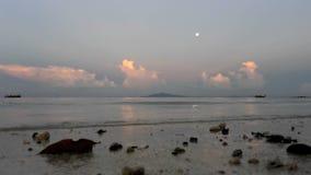 Sunset on tropical beach stock video