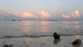 Sunset on tropical beach stock footage