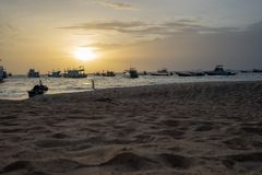 Sunset on Tropical Beach stock photography
