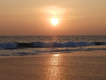 Sunset on a tropical beach in Hikkaduwa. Sri Lanka. Sunset on a tropical beach in Hikkaduwa Royalty Free Stock Photography