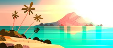 Sunset On Tropical Beach Landscape Summer Seaside With Palm Tree And Silhouette Mountains. Flat Vector Illustration royalty free illustration