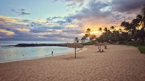Sunset Tropical Beach Landscape. Sunny tropical beach landscape and seascape on Oahu, Hawaii. This is a sand beach vacation in Ko Olina lagoons Stock Photography