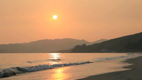 Sunset on tropical beach. Lantau Island, Cheung Sha, Hong Kong stock video footage