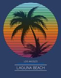 Sunset at tropical beach los angeles california. Fashion style royalty free illustration