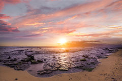 Sunset tropical beach in Mauritius Island, Indian Ocean Royalty Free Stock Photo