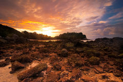 Sunset at tropical beach with rocks and stones Stock Photography