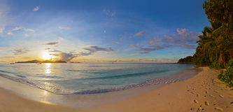 Sunset on tropical beach - Seychelles Stock Photos