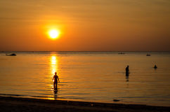 Sunset at tropical beach with silhouettes Stock Photos