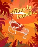Sunset on a tropical beach, summer, santa claus, holiday, time to travel. Vector illustration Stock Photos