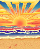 Sunset on tropical beach Royalty Free Stock Image