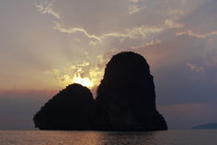 Sunset at tropical beach. Thailand Royalty Free Stock Photos