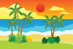 Sunset at Tropical Beach Vector Illustration. For many purpose such as illustration book, print on canvas, clothes, textile, bag, pillow case, poster, etc stock illustration