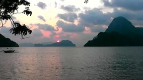 Sunset on a tropical island. El Nido. Philippines. On a tropical island. Palawan island. Philippines stock video