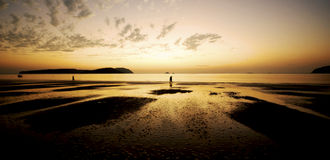 Sunset on a Tropical Island Paradise Nature Concept Royalty Free Stock Photography