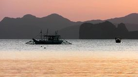 Sunset on tropical island. Philippines. On a tropical island. Palawan island. Philippines stock footage