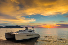 Sunset on a tropical island Stock Photography