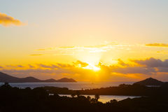 Sunset on the tropical islands of US VI. Stock Images