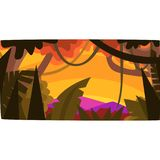 Sunset in tropical jungle, greenwood background with leaves, bushes and trees, tropical rainforest scenery vector Stock Photos