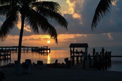 Sunset at tropical location Royalty Free Stock Photo