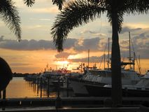 Sunset at a Tropical Marina Stock Image
